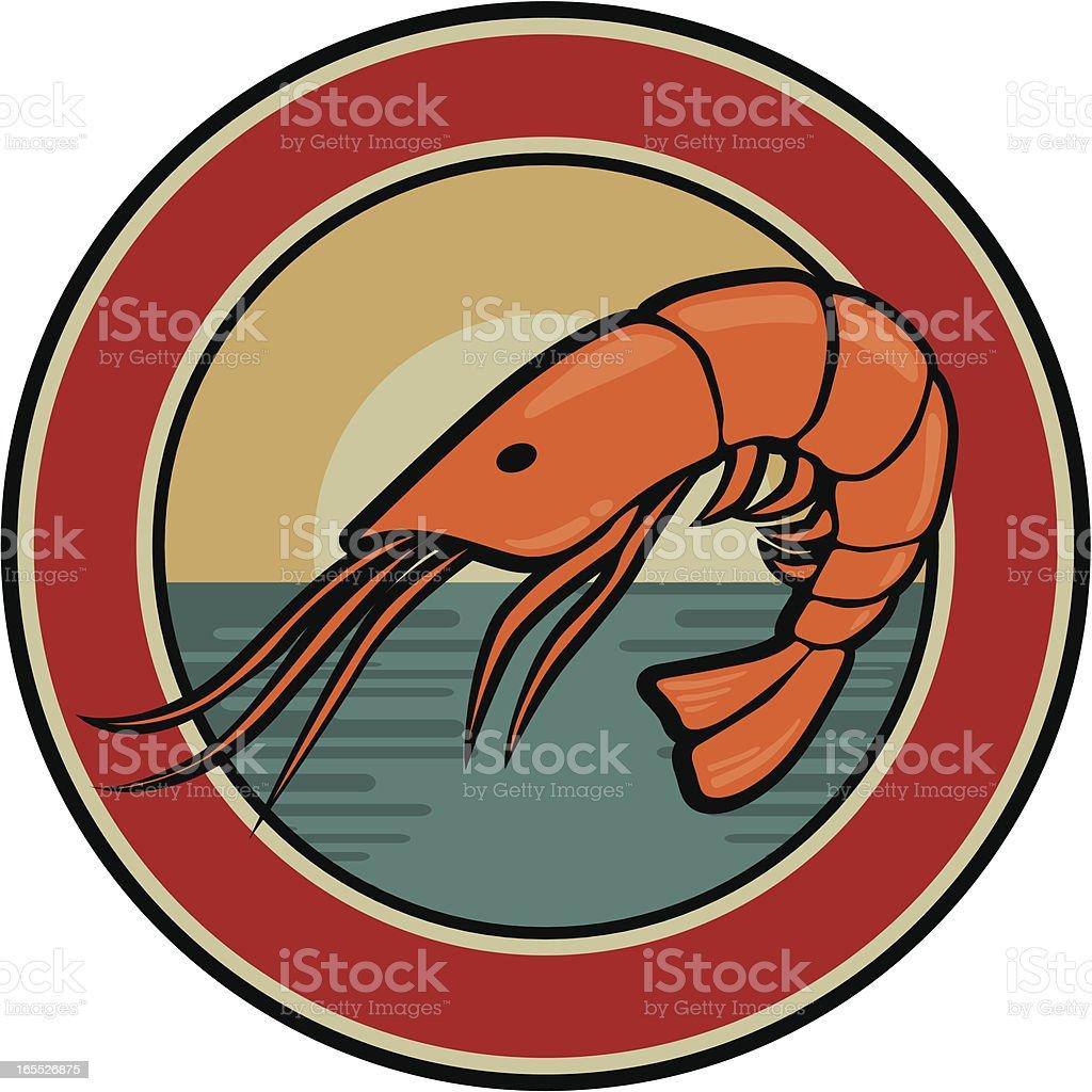 prawn emblem royalty-free stock vector art
