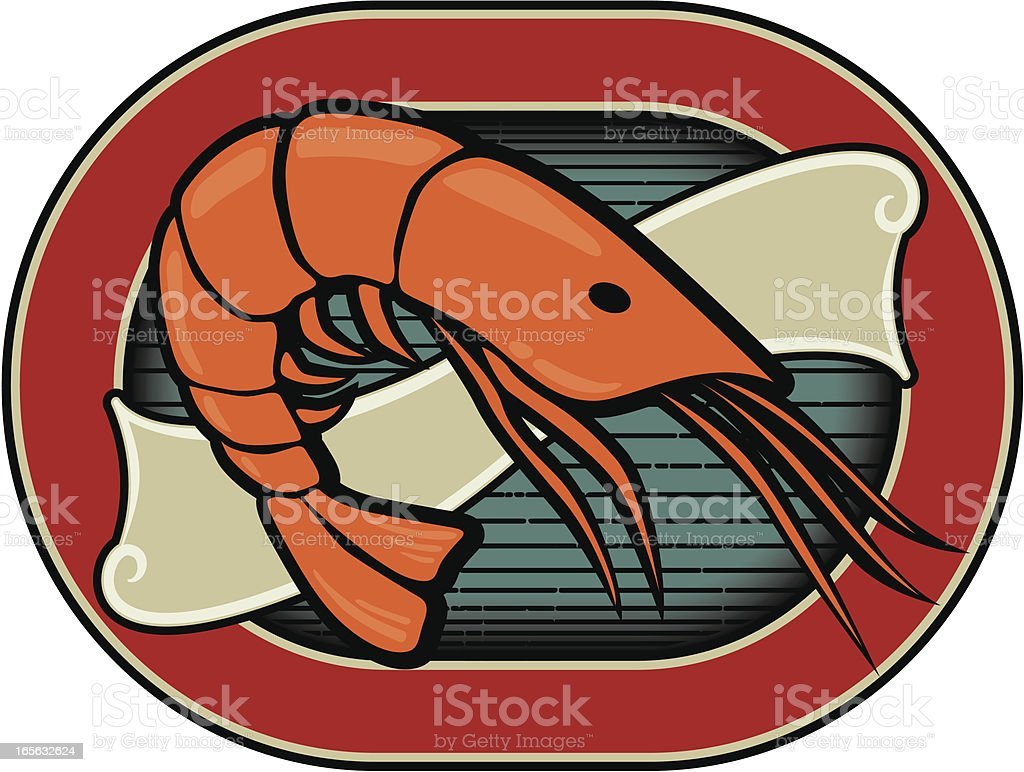 prawn label royalty-free stock vector art