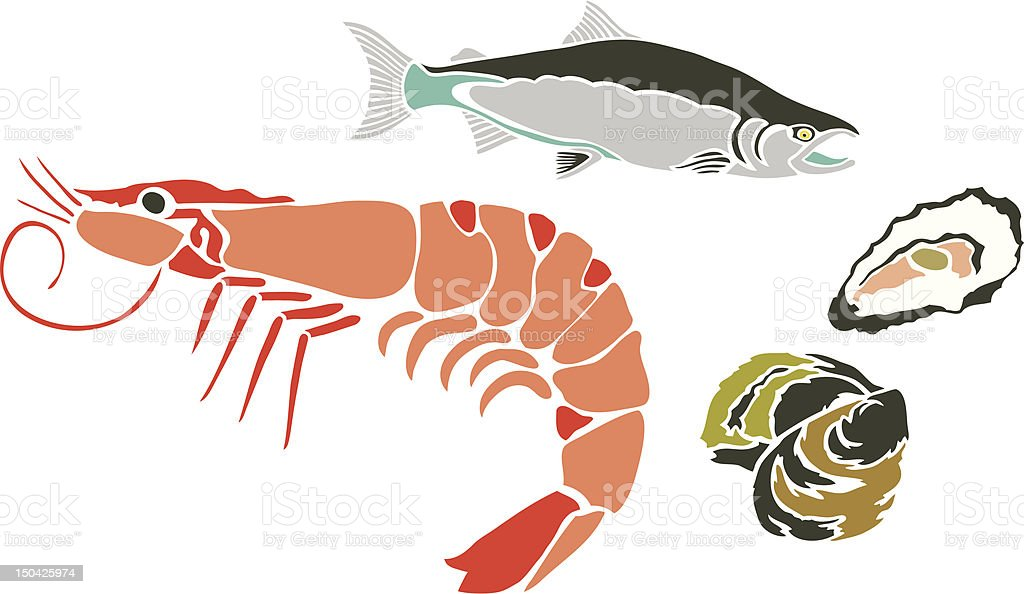 Prawn, Tuna Fish and Oysters royalty-free stock vector art