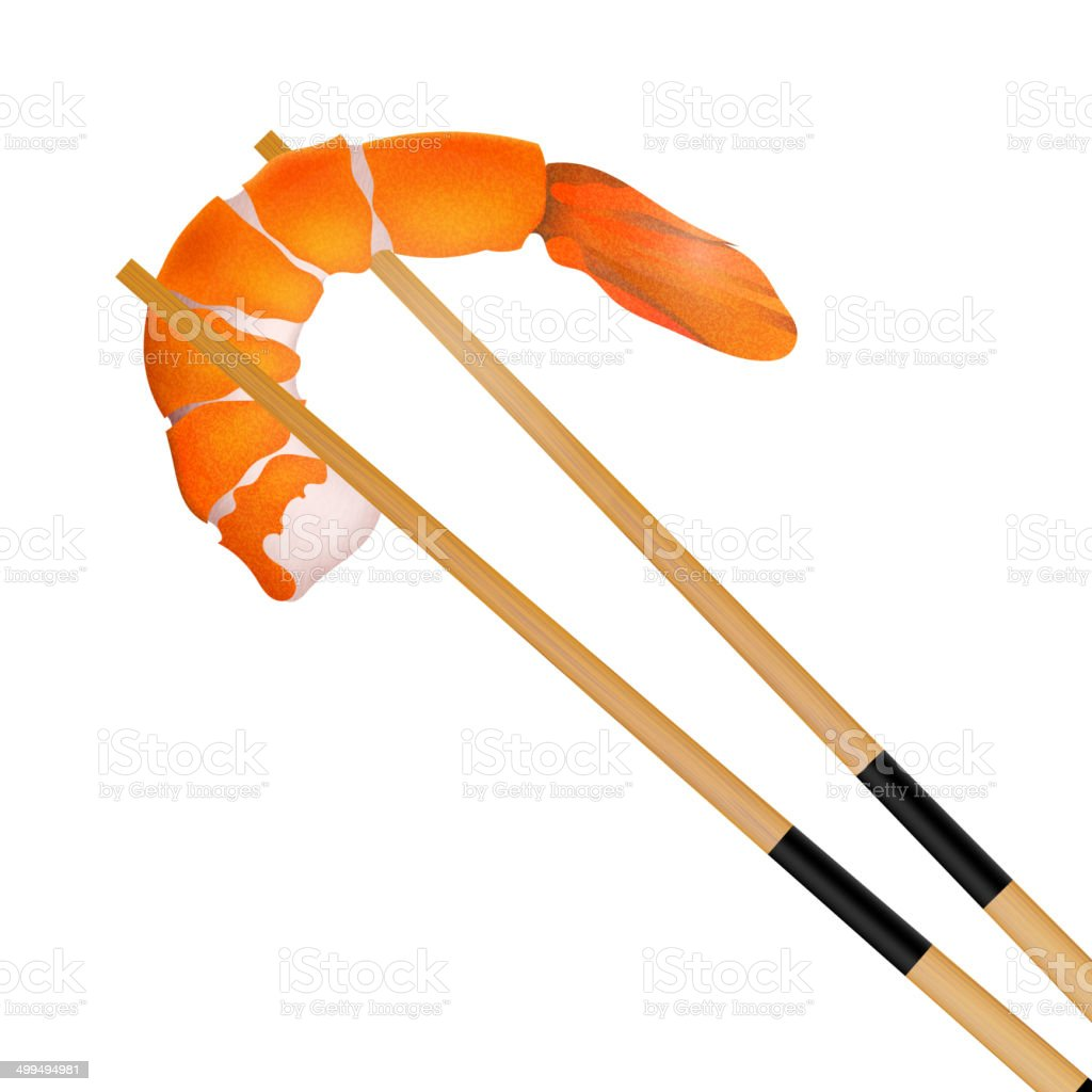 Prawn with chopstick isolated on the white background. vector art illustration