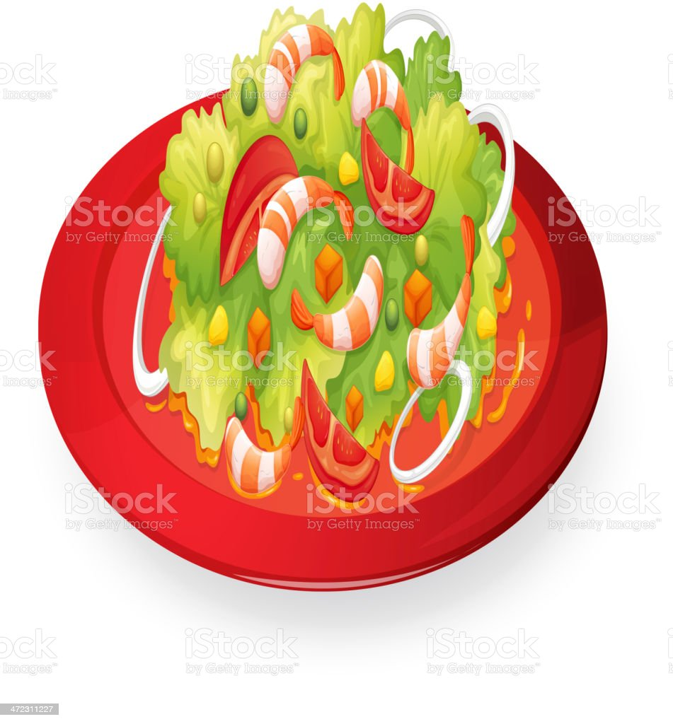 Prawns salad in red dish royalty-free stock vector art