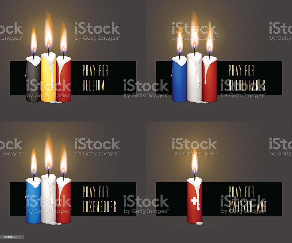 Pray for Belgium, Netherlands, Luxembourg, Switzerland vector art illustration