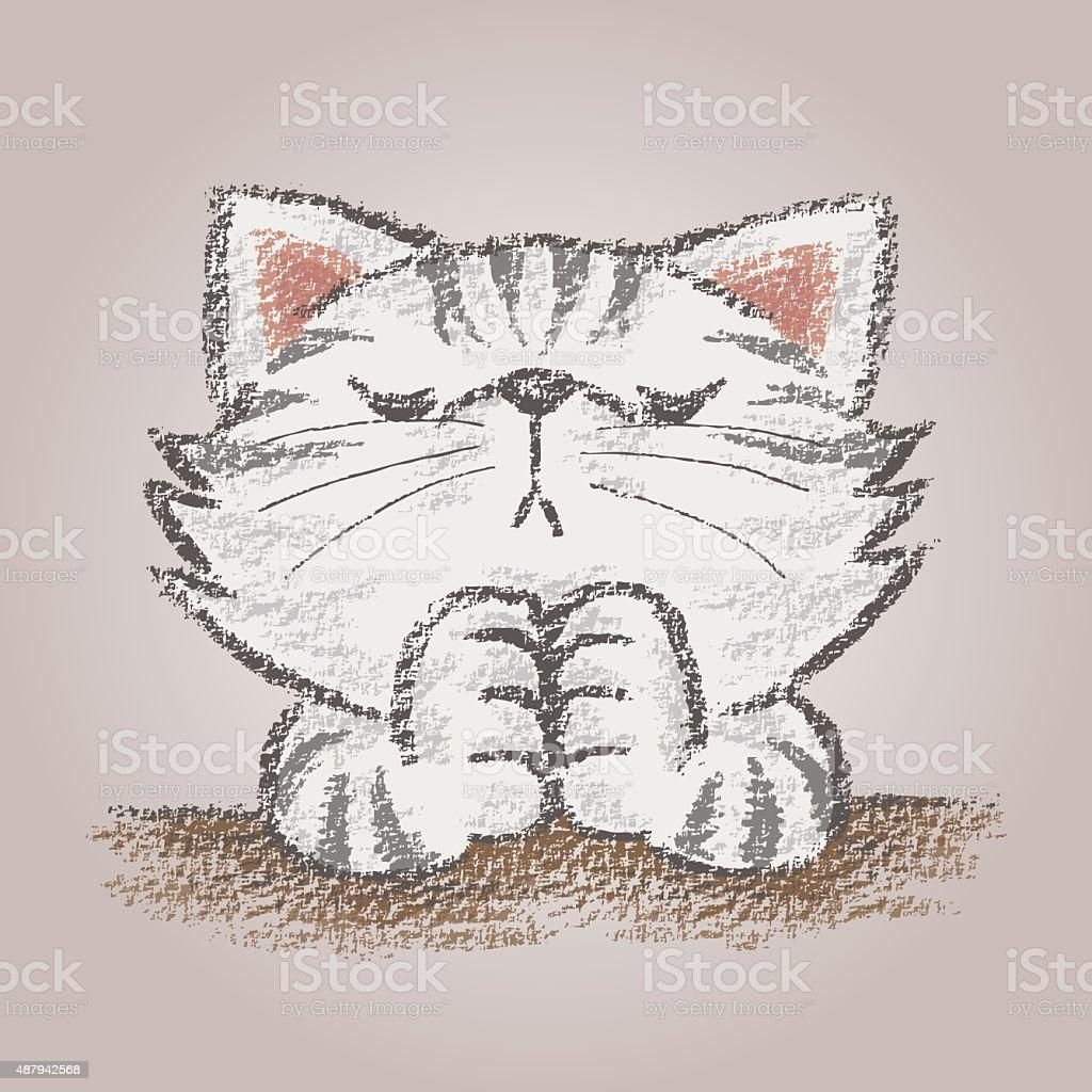 Prayer cat vector art illustration