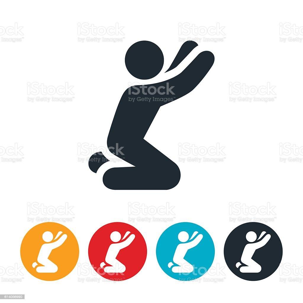 Prayer For Help Icon vector art illustration