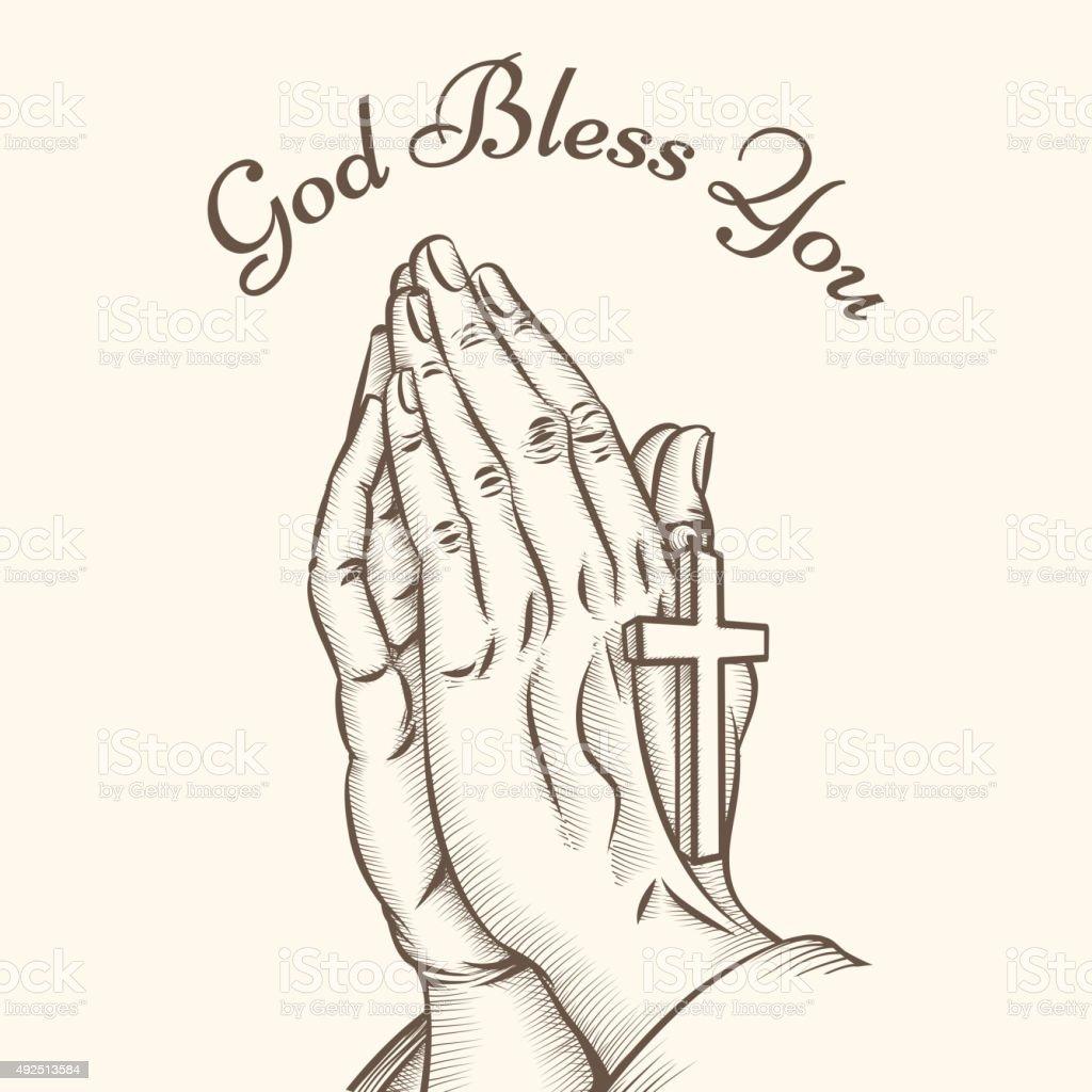 Prayer hand with cross vector art illustration