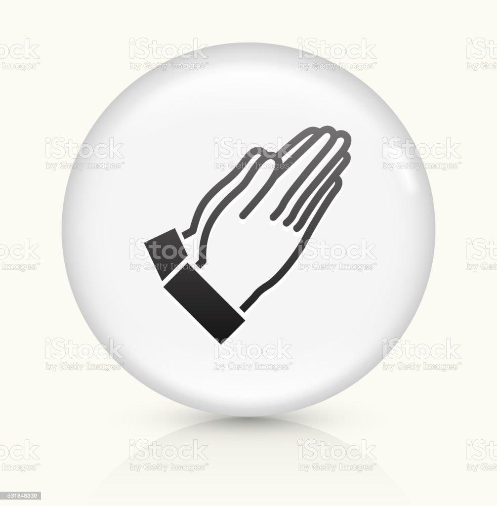 Prayer icon on white round vector button vector art illustration