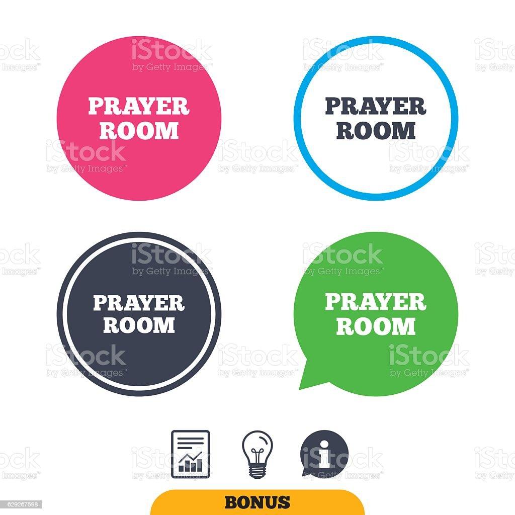 Prayer room sign icon. Religion priest faith symbol. Report document,...