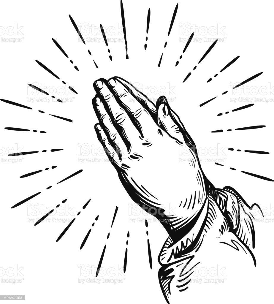 Prayer. Sketch praying hands. Vector illustration isolated on white background vector art illustration