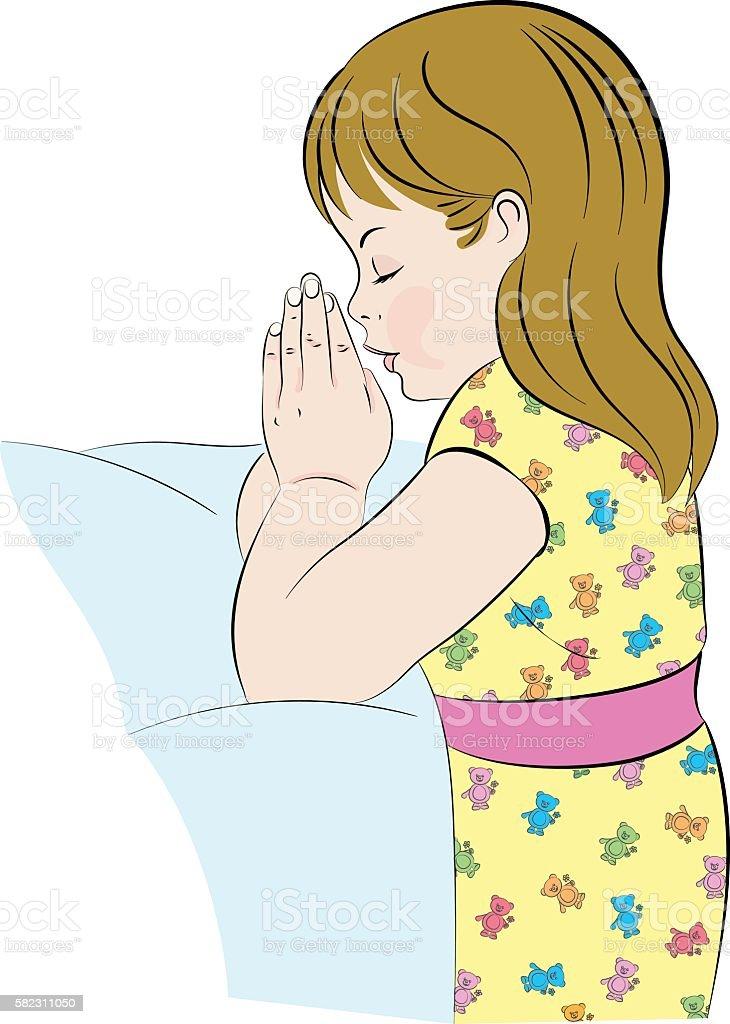Praying Girl, Kneeling by Her Bed vector art illustration