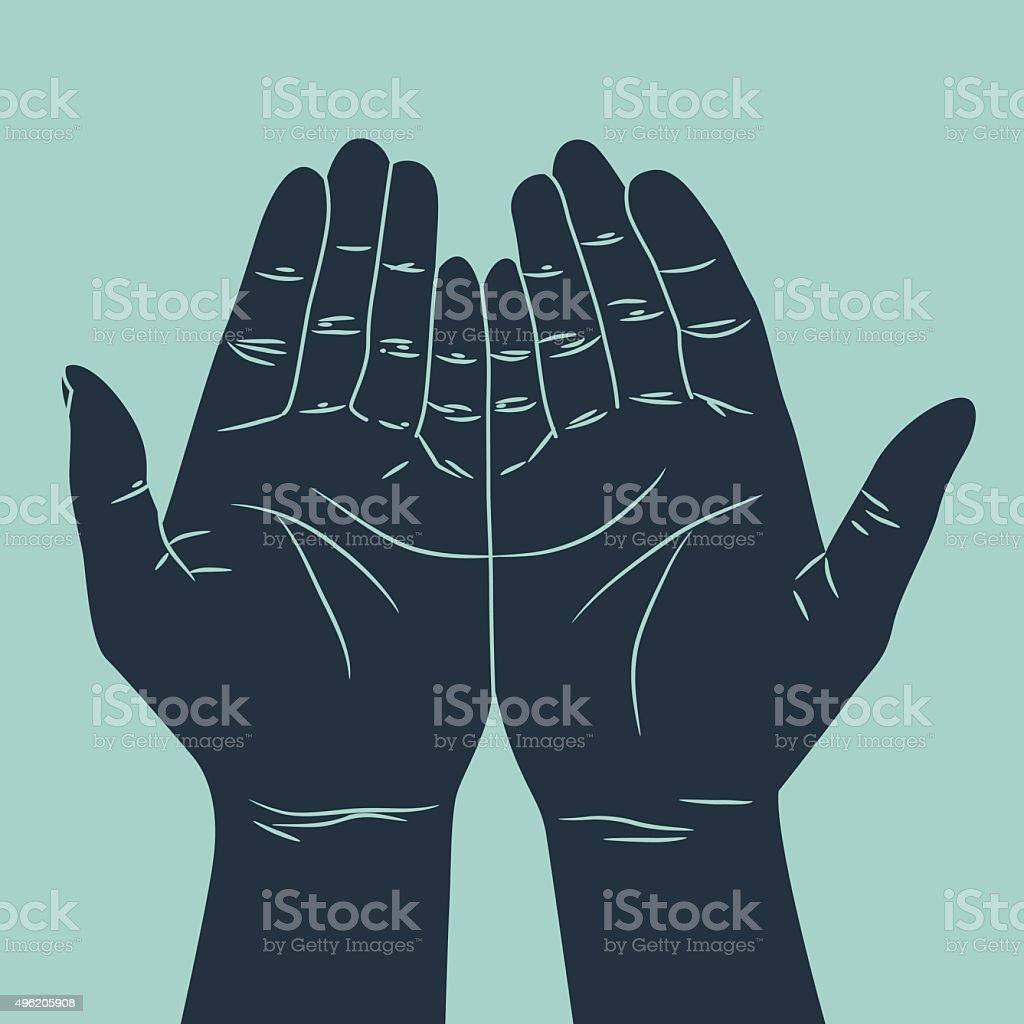 praying hand gesture vector art illustration