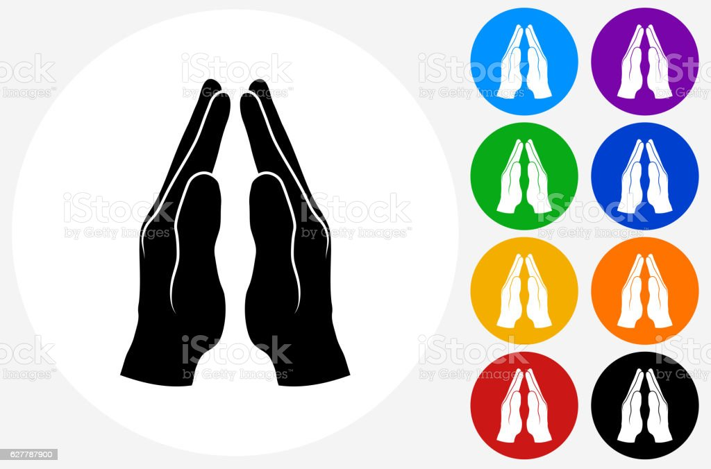 Praying Hands Icon on Flat Color Circle Buttons vector art illustration