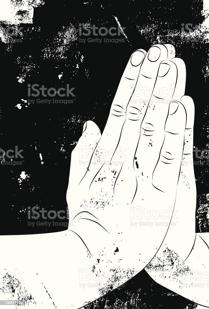praying hands vector art illustration