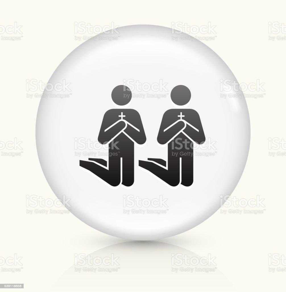 Praying icon on white round vector button vector art illustration