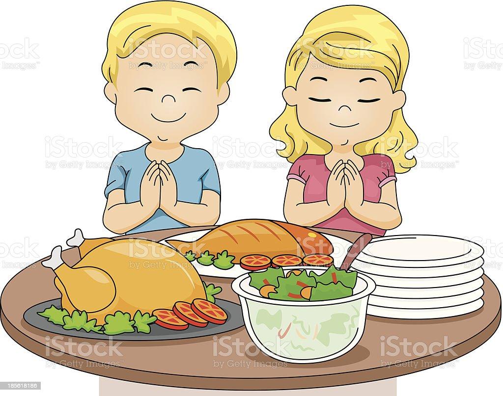 Praying Kids vector art illustration