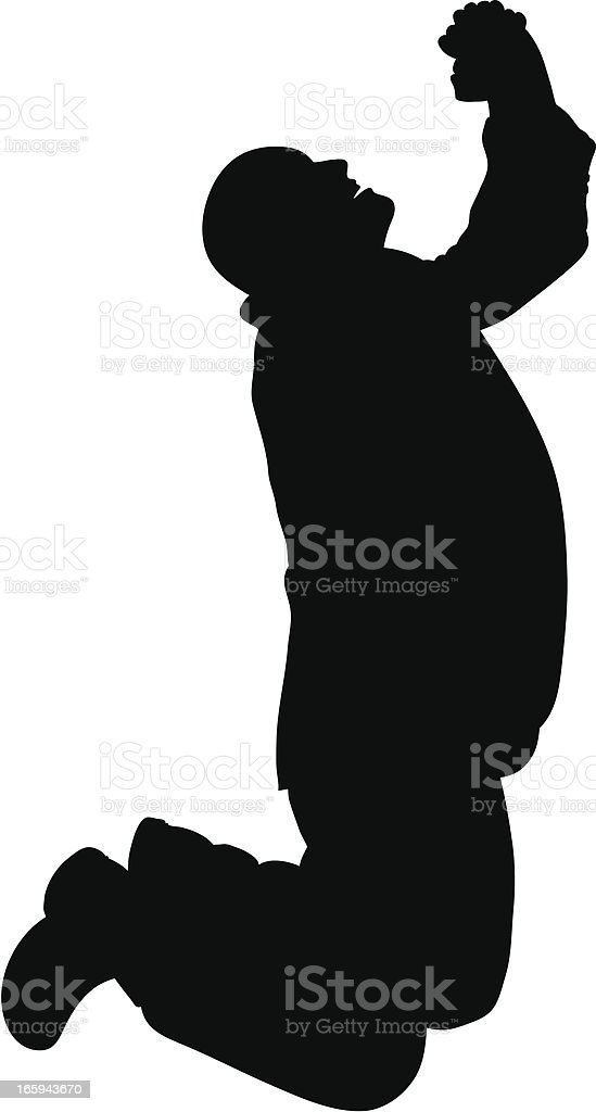 Praying Man Silhouette vector art illustration