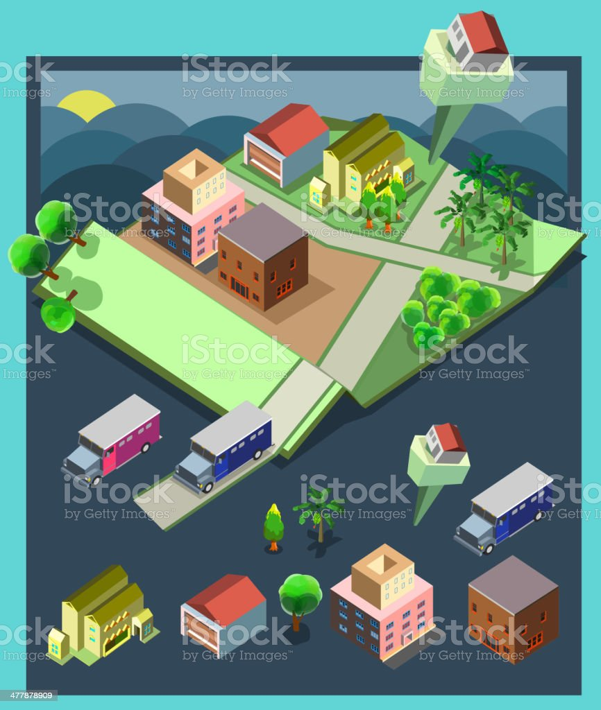 pre assembly isometric map-apartment royalty-free stock vector art