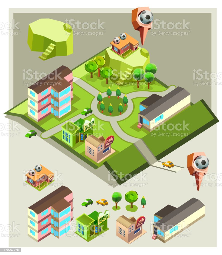 pre assembly isometric map-soccer indoor field royalty-free stock vector art