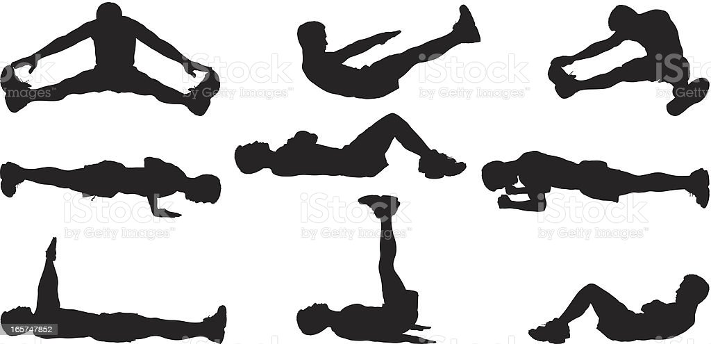 Pre workout stretches and exercises vector art illustration