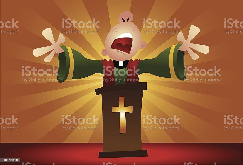Preacher Praying vector art illustration