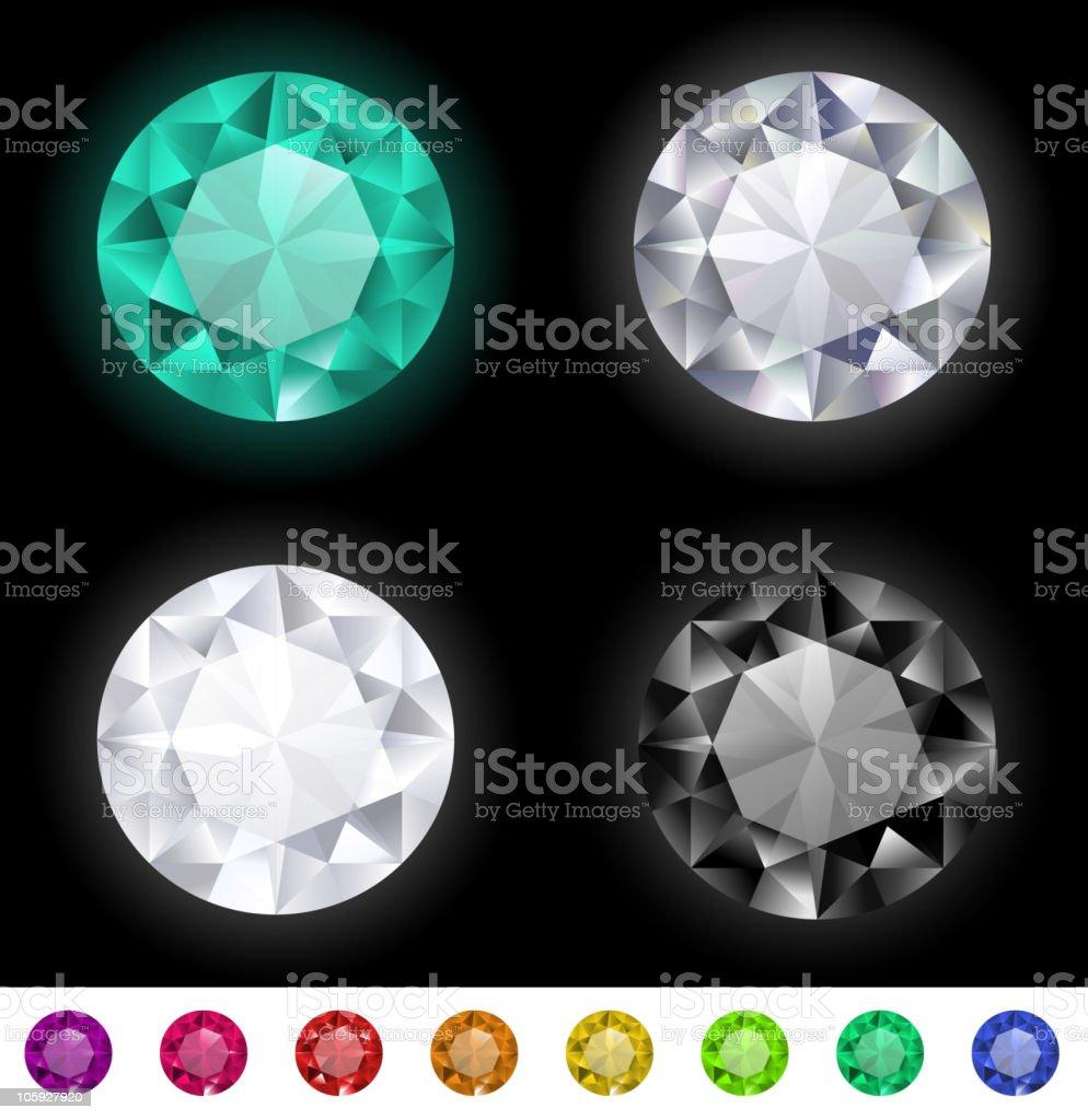 Precious gems set vector art illustration
