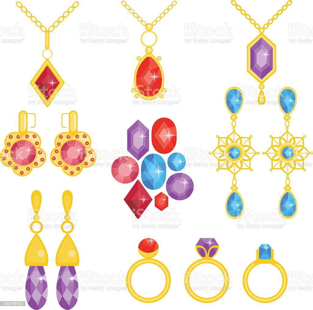 Precious jewelry set. Gemstones and gold collection vector art illustration