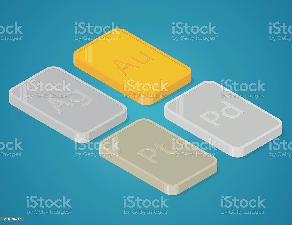 Precious metals bars. vector art illustration