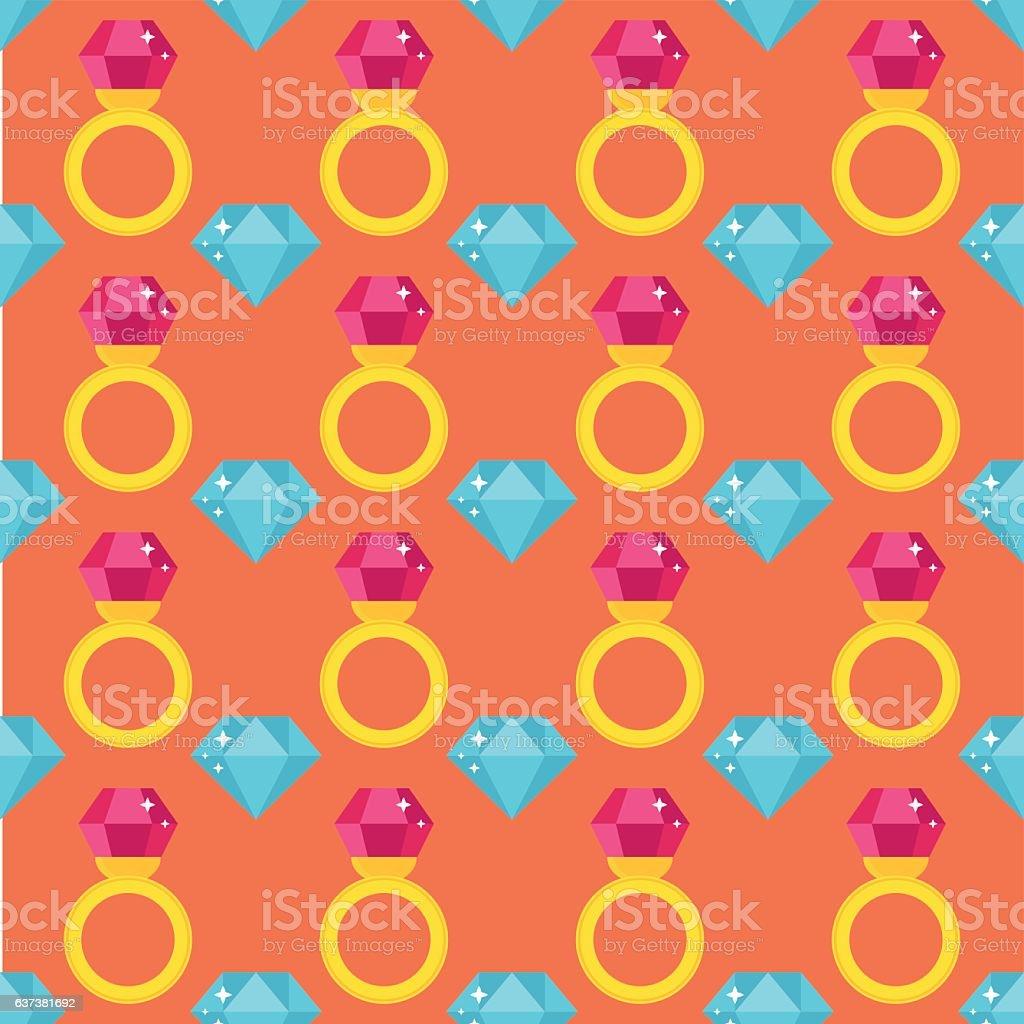 Precious ring seamless pattern vector illustration. vector art illustration