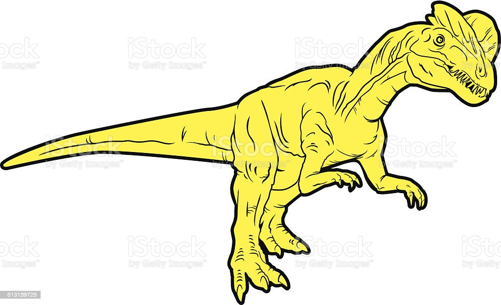 predatory dinosaur (Dilophosaur) vector art illustration