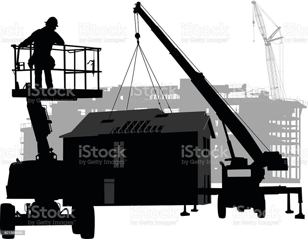 Prefabricated House Construction vector art illustration