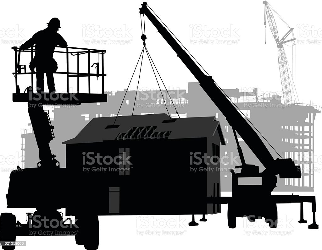 Prefabricated House Construction vector art illustration