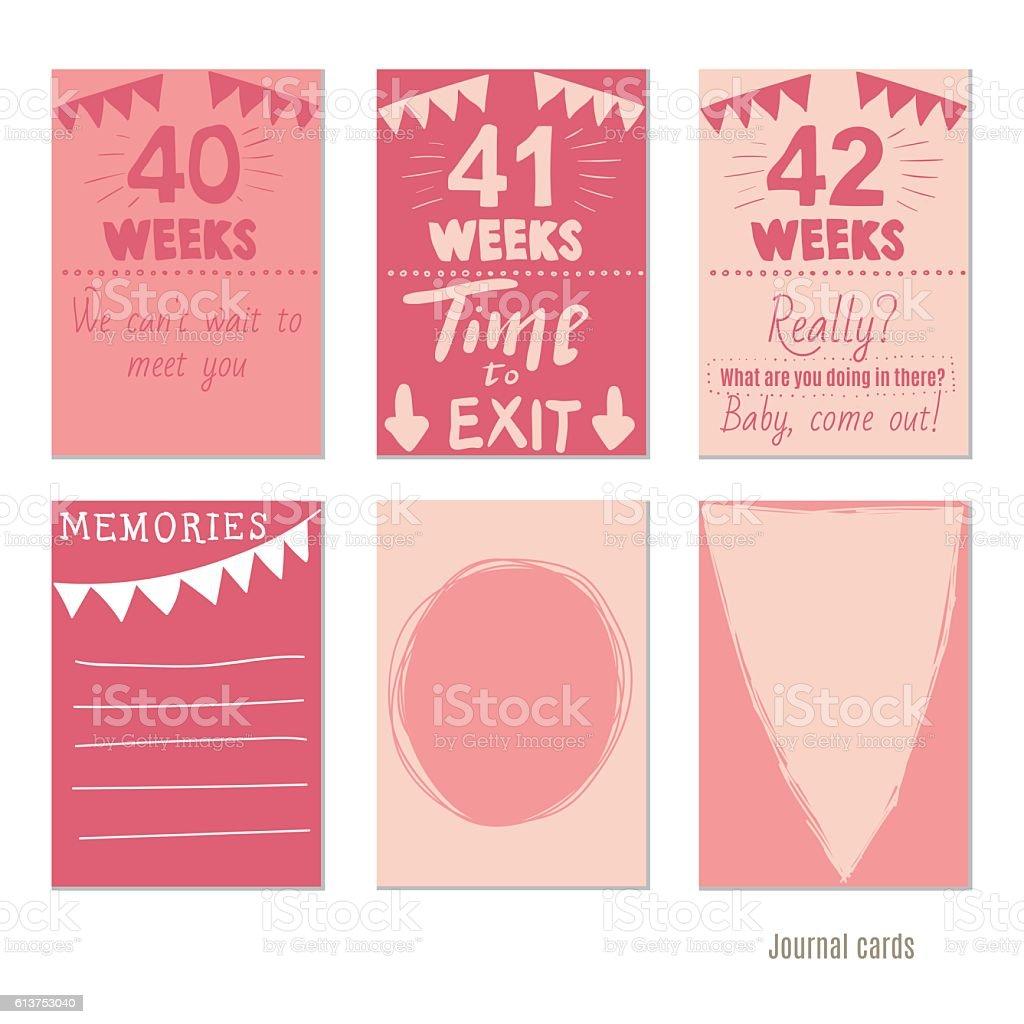 pregnancy 40-42 weeks  for journal cards, scrapbooking cards. vector art illustration
