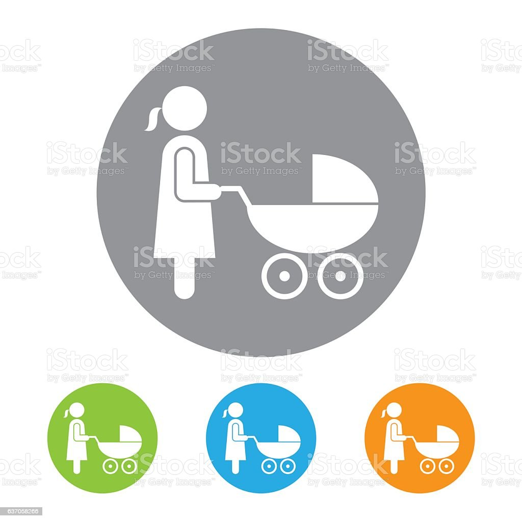 Pregnancy and Baby Carriage Icon vector art illustration