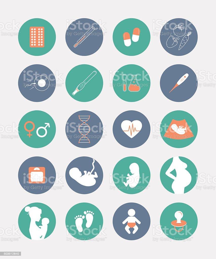 Pregnancy and birth icons set vector art illustration
