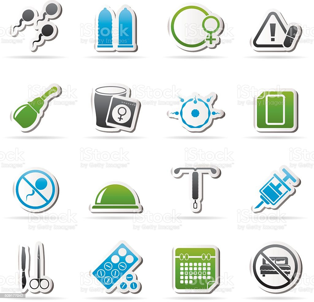 Pregnancy and contraception Icons vector art illustration