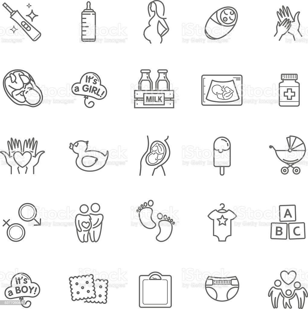 Pregnancy and motherhood vector icons set. Newborn, child care vector art illustration