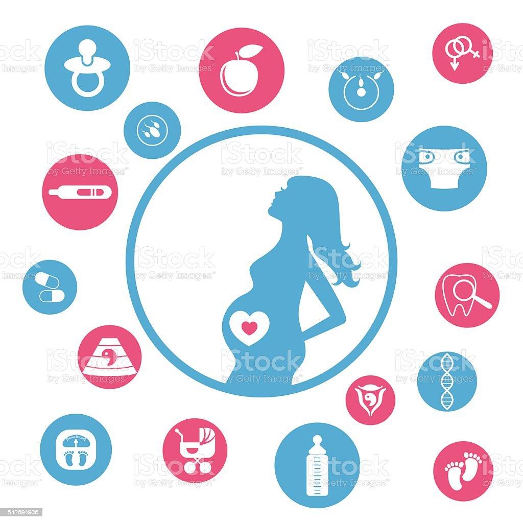 Pregnancy and newborn baby icons set. vector art illustration