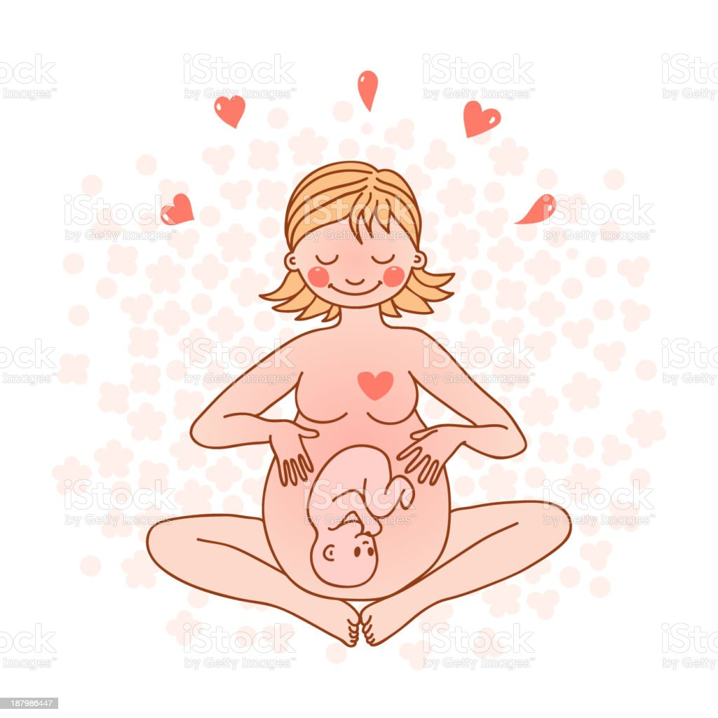 Pregnancy and Yoga vector art illustration