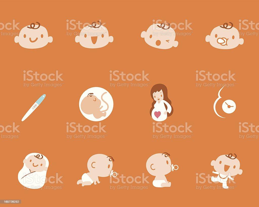 Pregnancy Birth Mother Baby Icon Set vector art illustration