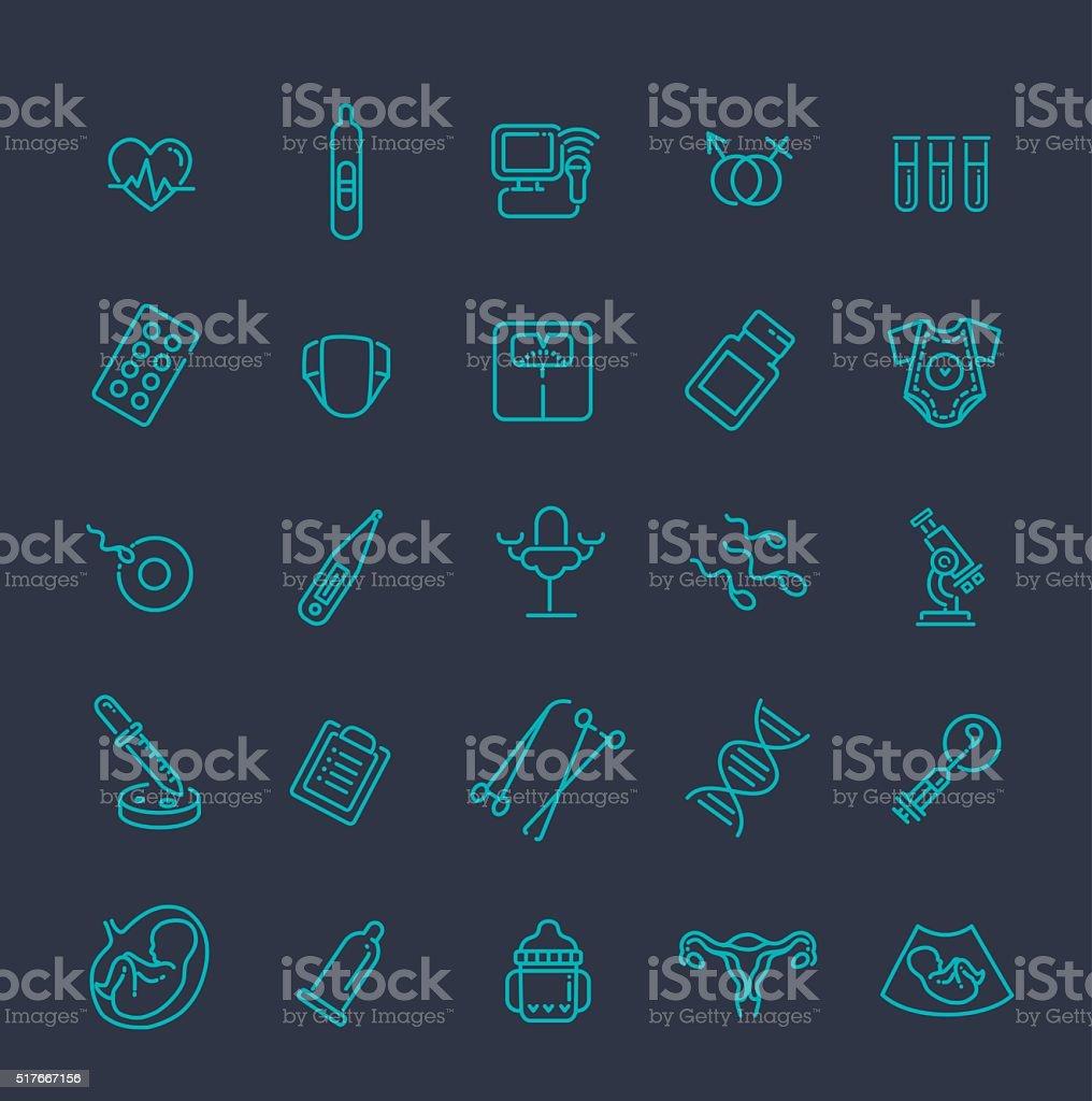Pregnancy, gynecology, childbirth and motherhood line icons set vector art illustration