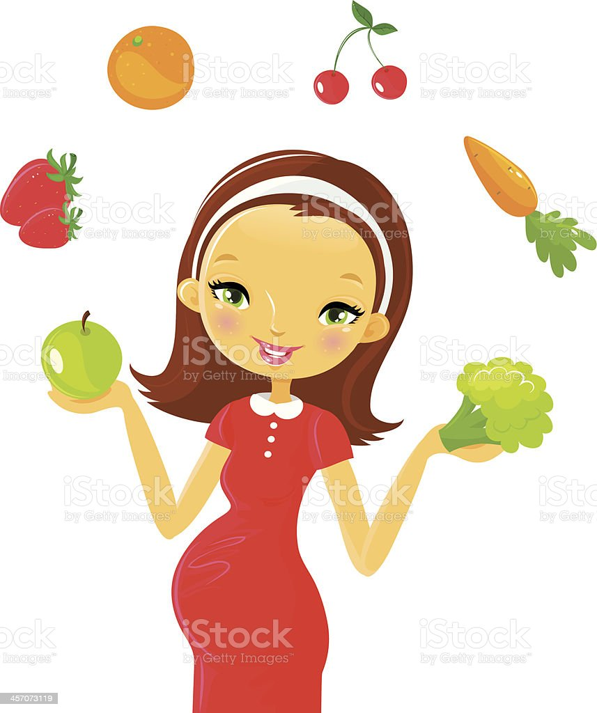 Pregnancy: health food vector art illustration