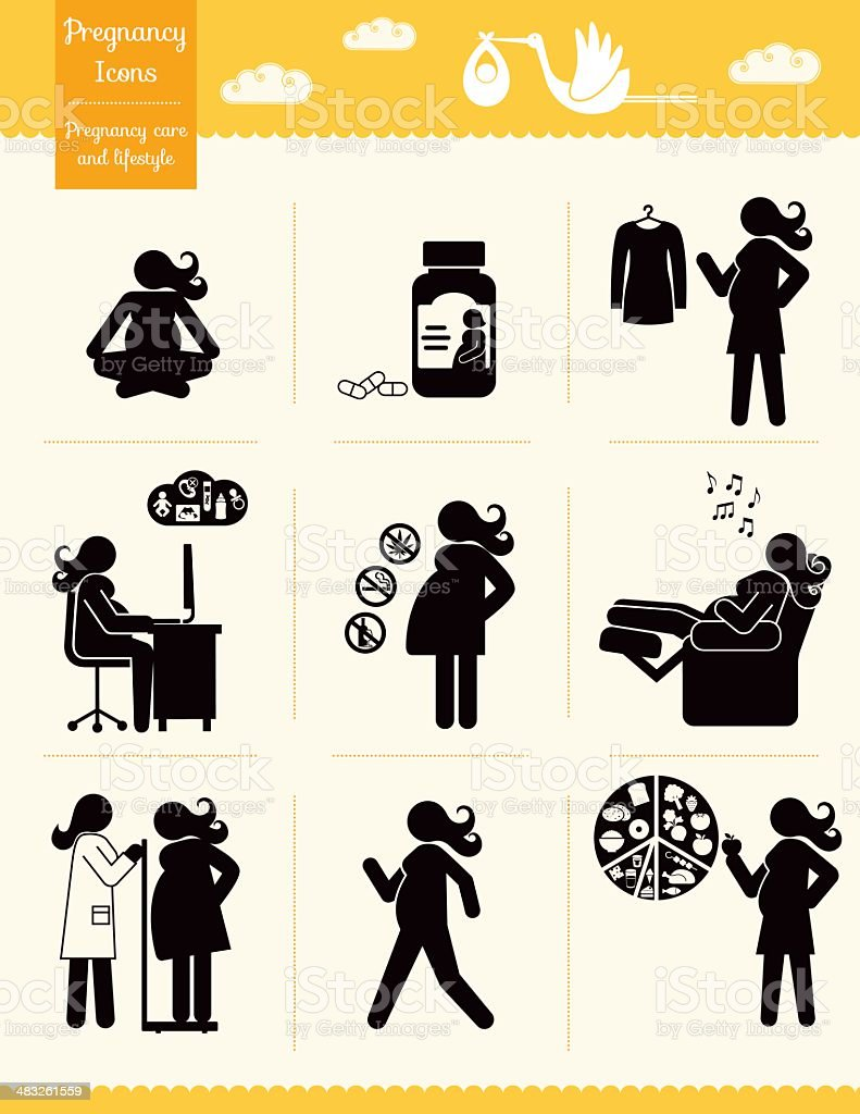 Pregnancy Icons - care & lifestyle vector art illustration
