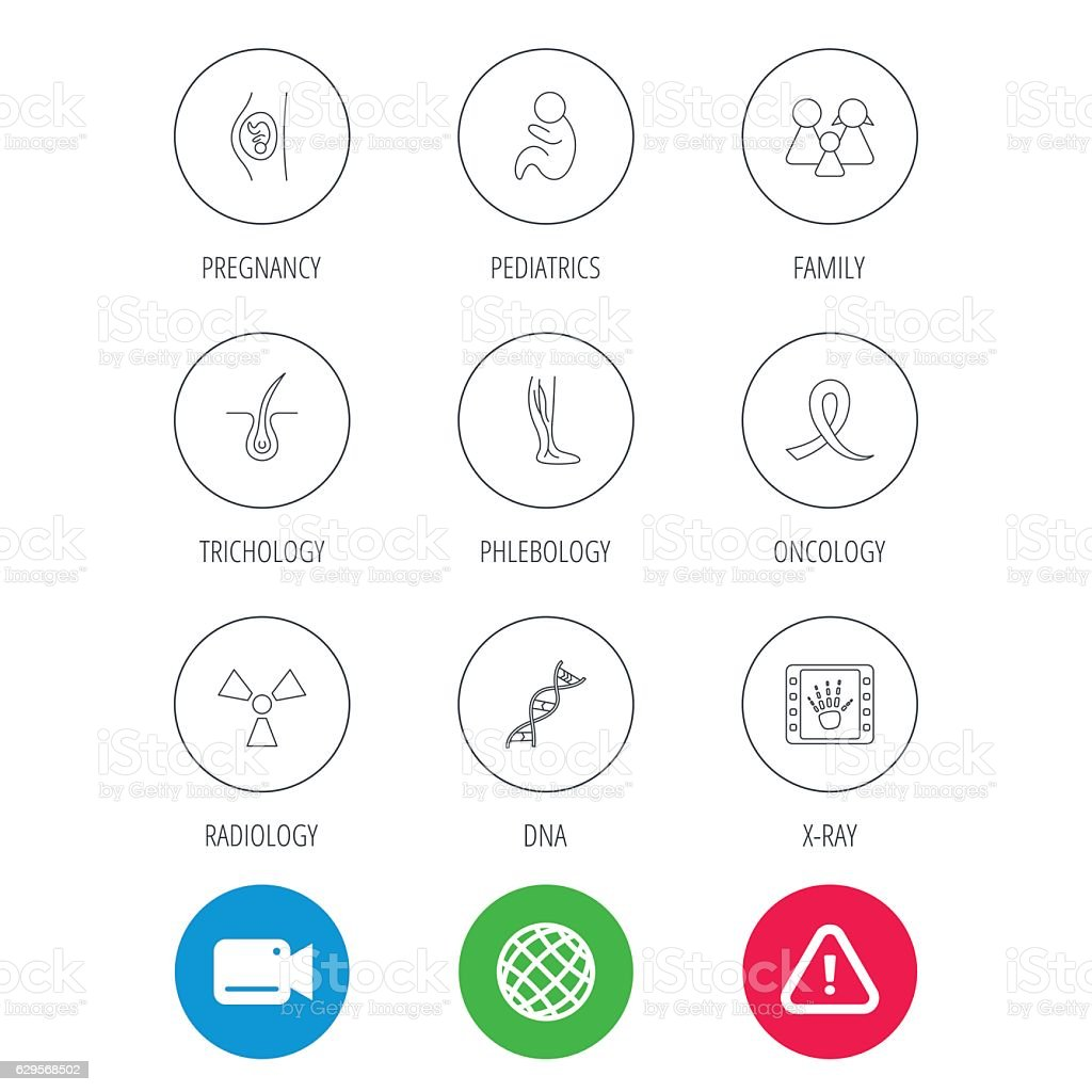 Pregnancy, pediatrics and family icons. Medical. vector art illustration