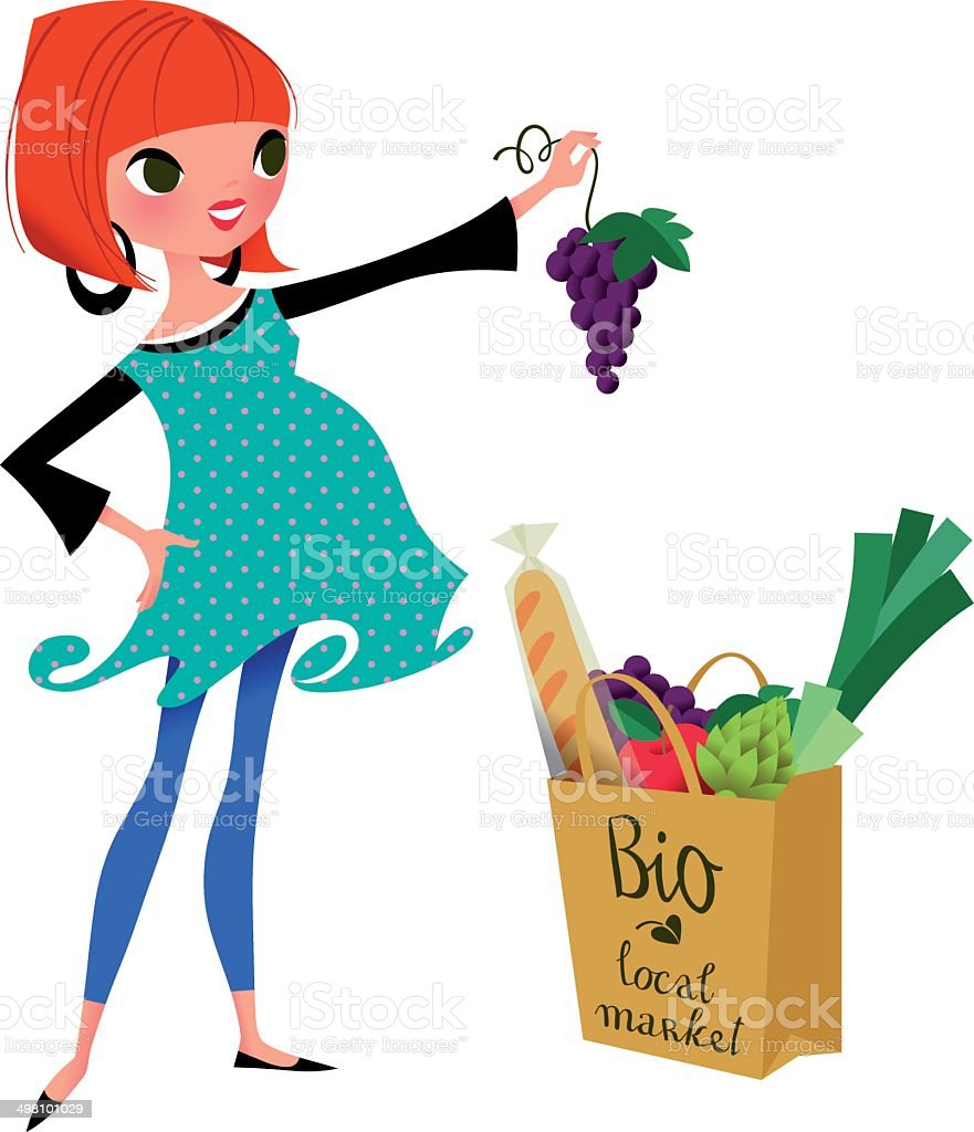 Pregnancy with Healthy Food. vector art illustration