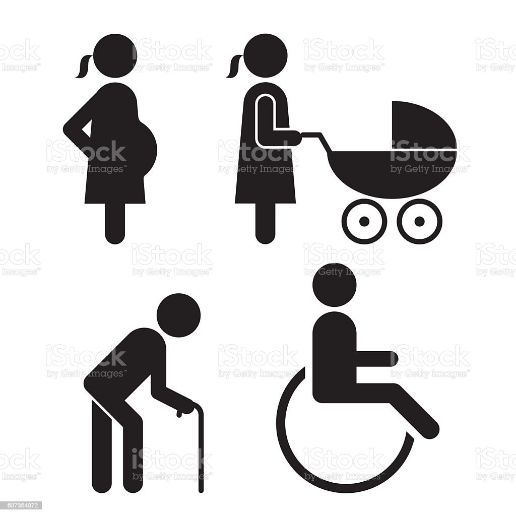 Pregnant, baby carriage, Walking stick and wheelchair Icons vector art illustration