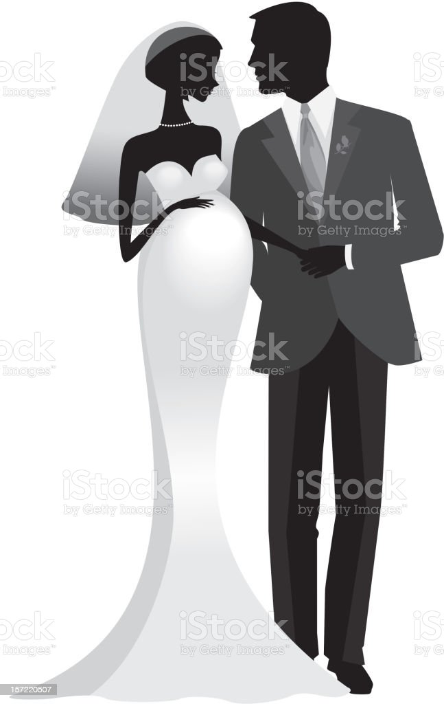 Pregnant Bride with Groom Silhouette royalty-free stock vector art