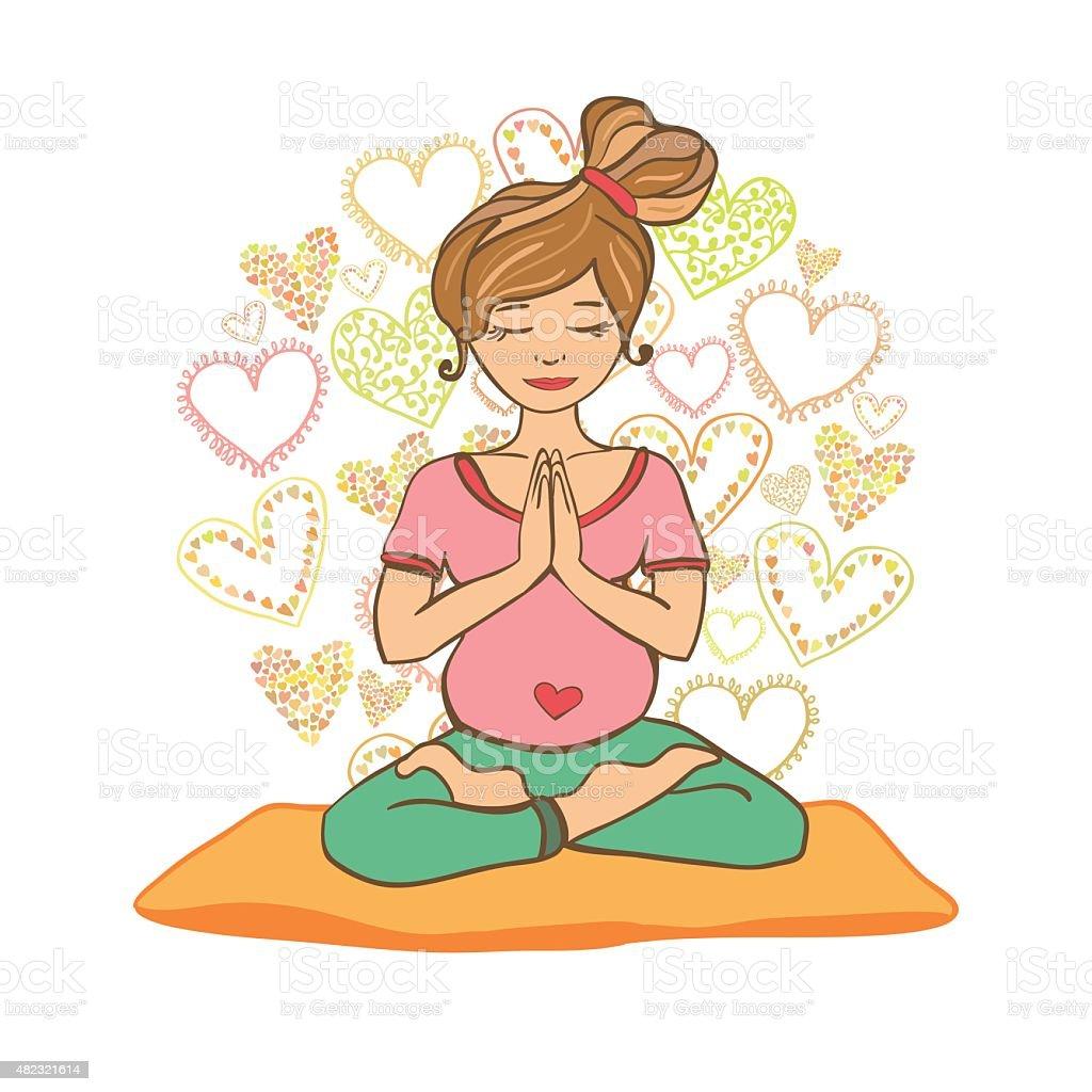 Pregnant girl doing yoga in the lotus pose. vector art illustration