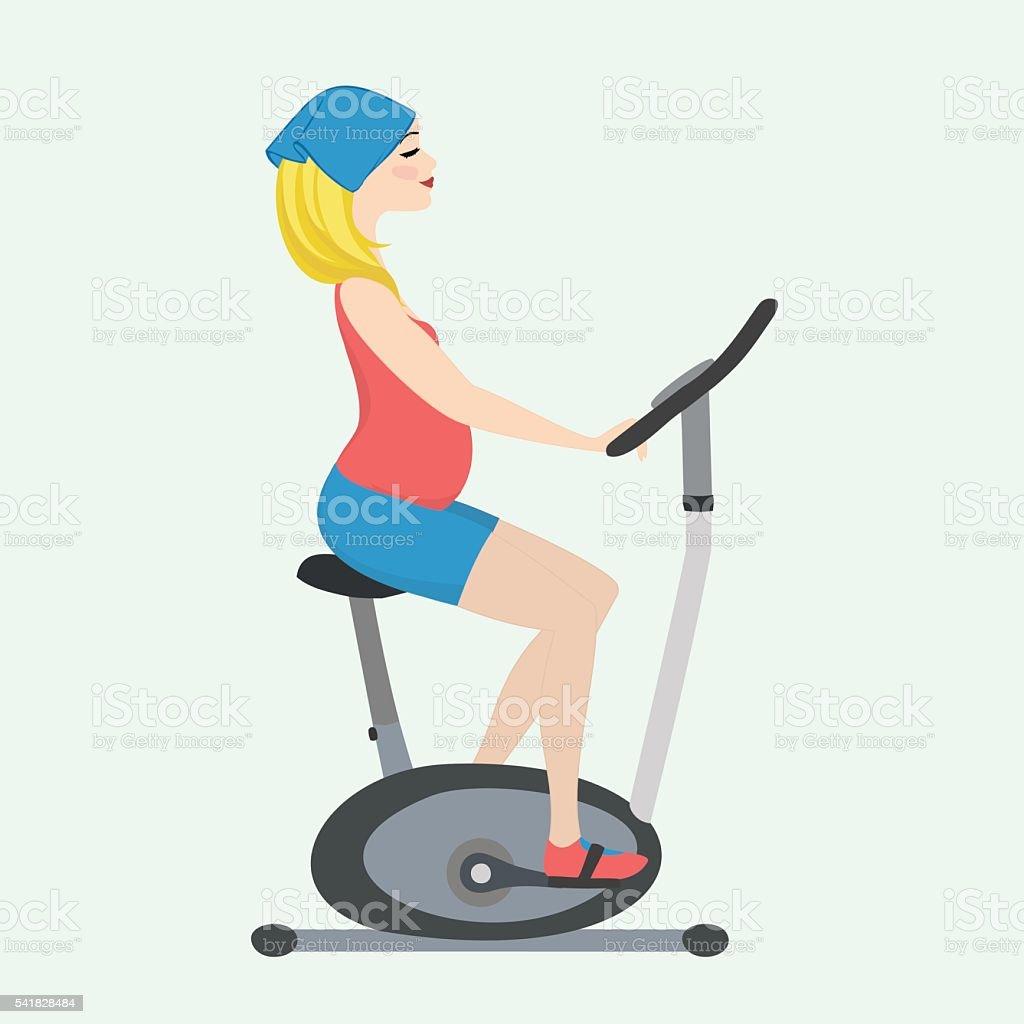 Pregnant girl on a stationary bike vector art illustration