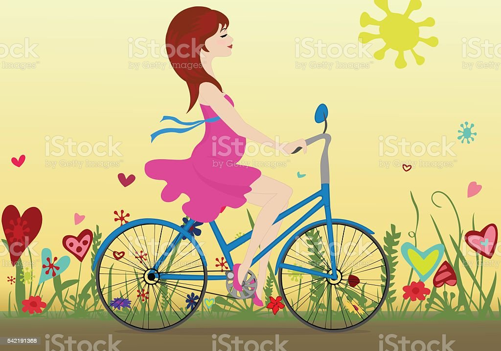 Pregnant girl rides a Bicycle on a blossoming field vector art illustration