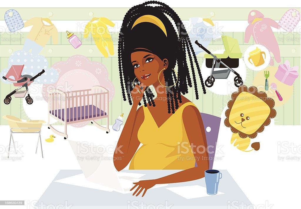 Pregnant lady buying online. vector art illustration