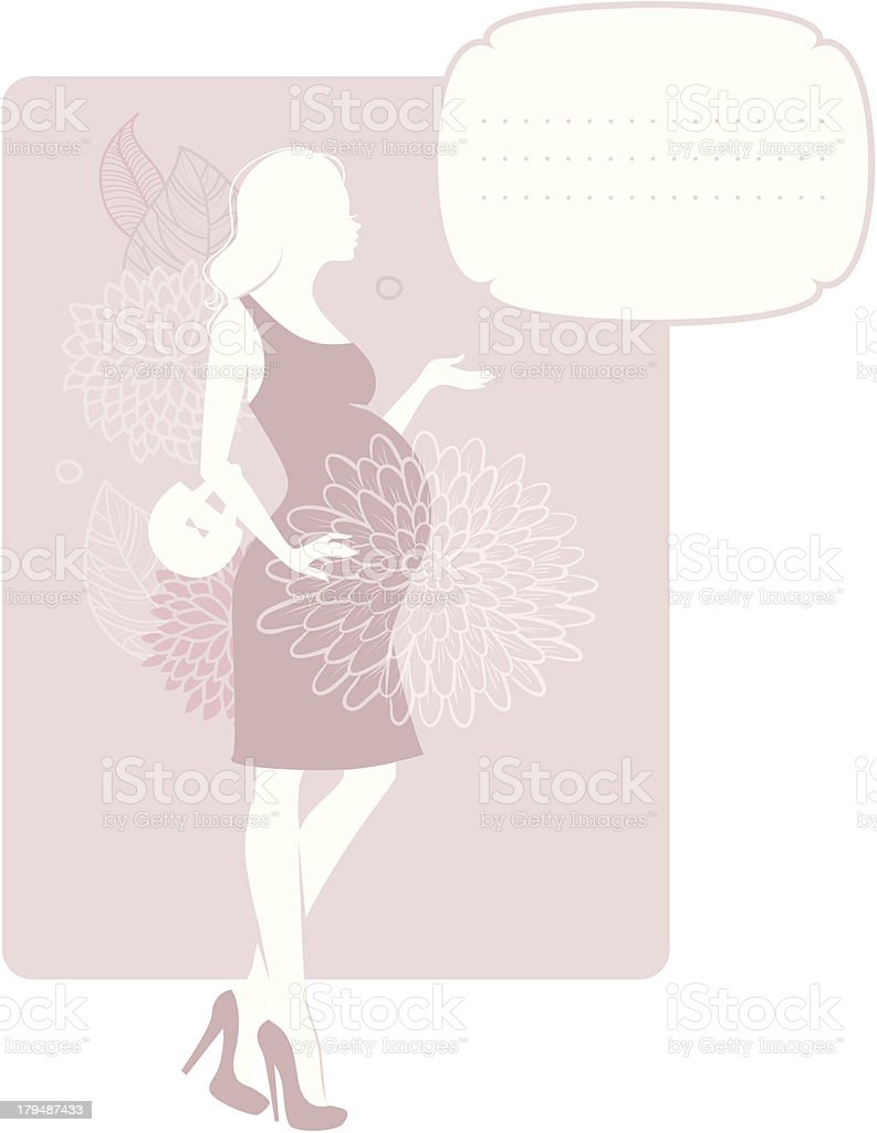 Pregnant silhouette woman royalty-free stock vector art